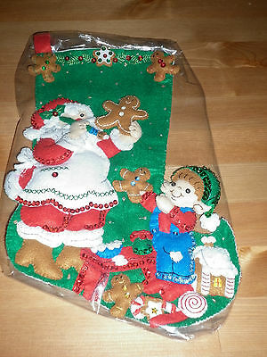 Bucilla Completed Christmas Stocking Santa & Elf