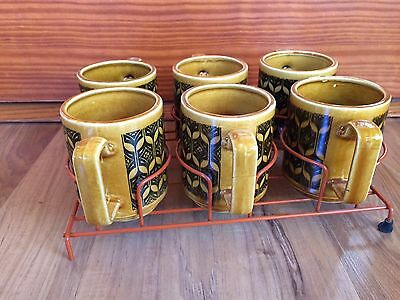 Set Of 6 Vintage Mid Century Gold Black Mugs Coffee Cups With Holder