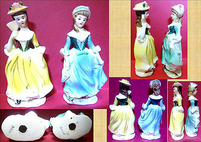 2 Vintage Hand-Painted Japanese Porcelain Old English Dress Figurines
