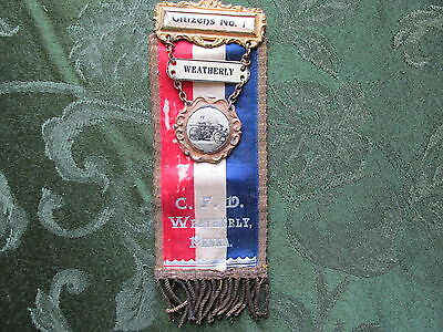 RARE Antique Citizens Fire Dept WEATHERLY PA 2 SIDE Ribbon MOURN / CELEBRATE