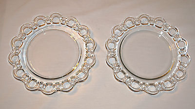 """2 Vintage Anchor Hocking Clear Glass Open Lace Edge Plates  8 1/4"""" Wide  EVC"""