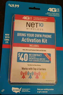 NET10 Bring Your Own Phone ACTIVATION KIT Sim Card plus $40 card 30 day refill