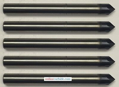 """LOT OF 5 PCS 1/4"""" 4 FLUTE 90 DEGREE CARBIDE CHAMFER MILL - TiALN COATED"""