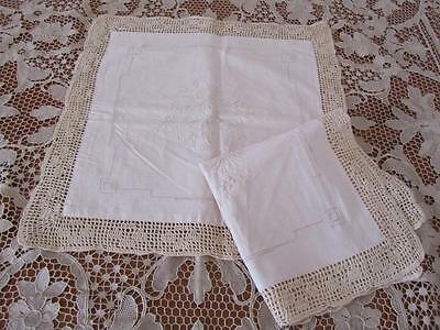 2x UNUSED PAIR Vintage Embroidered Linen Crochet CUSHION COVERS