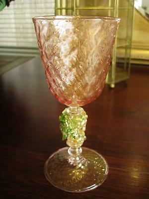Beautiful MURANO glass gold infused goblet with applied decoration.