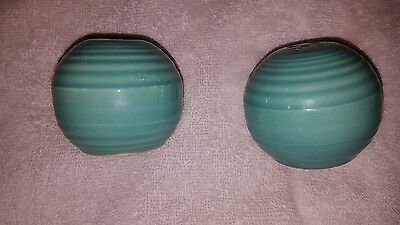 Bauer Salt And Pepper Shakers Green Pottery With Rings