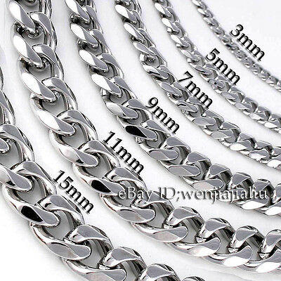 3~15mm MENS Boys Chain Silver Tone Curb Link Stainless Steel Necklace 14-45''