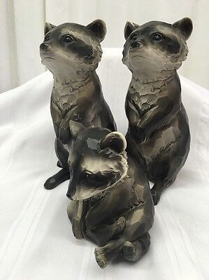 RACCOON FAMILY OF 3 Ceramic Figures Black Gray Indoor Use Cabin Life Country