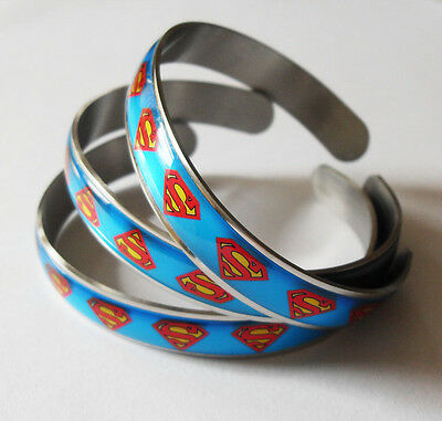 1pcs Superman Bangle Men Boy's Stainless Steel Fashion Wristband Party Bracelet