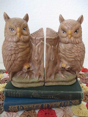 Vintage Painted Owl & Tree Stump Cast Plaster Figural Bookends Book Ends Perfect