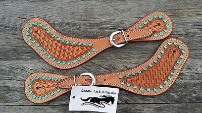 Spur straps western ladies leather blue crystal bling show
