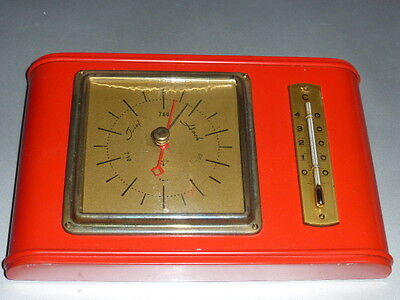 Barometer mit  Thermometer Fischer in edlem Holz, rot