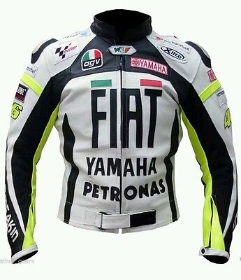Rossi FIAT Yamaha Motorbike motoGp Motorcycle Leather Racing Jacket All Size
