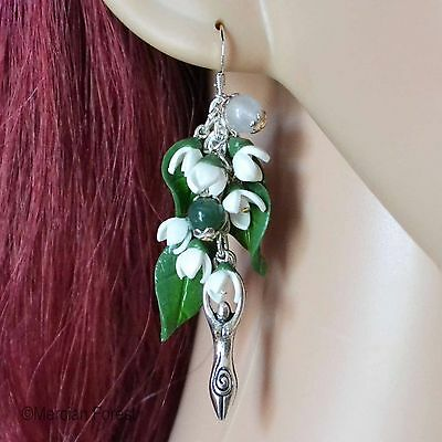 Brigids Blessing Snowdrop Pagan Earrings - Various Charms - Wicca, Spring Flower