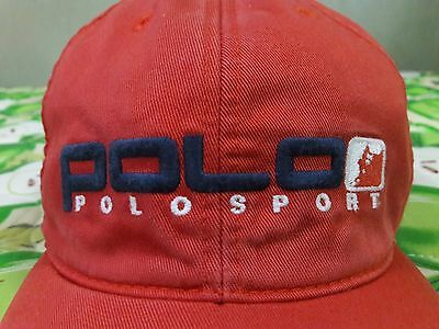 Vintage Polo Ralph Lauren Polo Sport - Bear Pwing Snow Ski Clipback Red Hat Cap
