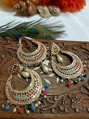Indian Bollywood Style Party Wear Jadau Earrings And Tikka Set