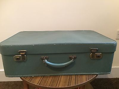 VINTAGE 1950s/60s GREEN 'PIXIE' SUITCASE LUGGAGE - FLOWER LINING