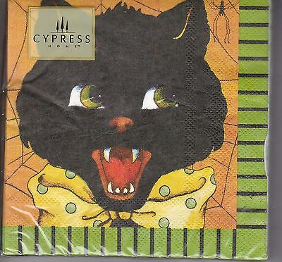 Cypress 20 Ct Paper Cocktail Napkins Black Cat Bow Hairraising Halloween