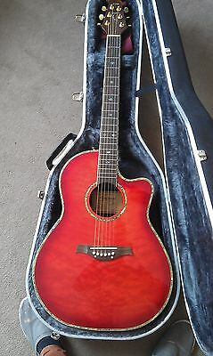 Semi-Acoustic Guitar - Tanglewood Odyssey - Sunburst Red with Gold Fittings