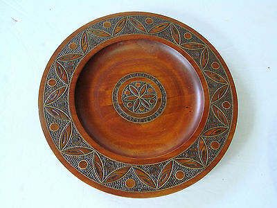"""Vintage Wood-Wall Plate-Polish Folk Art-Carved India Moroccan Mexican 10.25"""""""