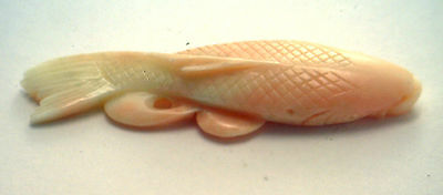 Antique Vintage Natural  Hand Carved Undyed CORAL Lg KOI FISH Stone #YY31A