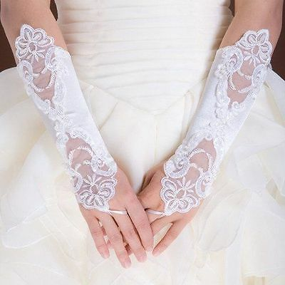 Long ivory lace fingerless gloves - formal, bridal, party, prom,