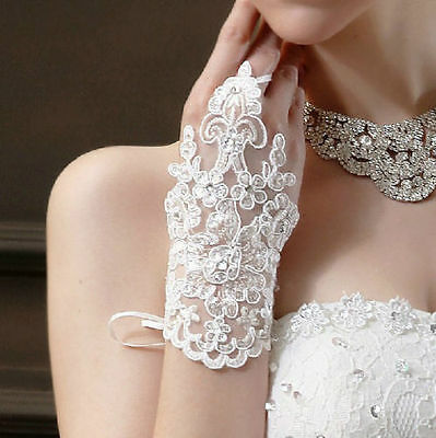 White all lace fingerless short gloves - bridal, wedding, party