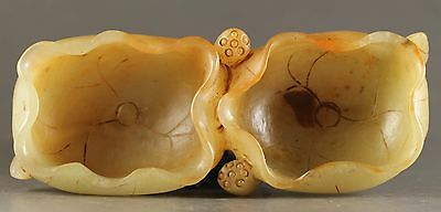 Chinese old natural jade hollowed-out statue double lotus brush washer 4.1 inch