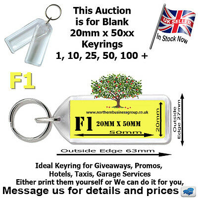 Blank plastic clear keyrings 50mm x 20mm insert 3D number plate F1 style promo