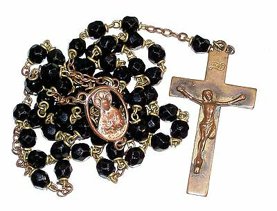 Vintage Old Brass Rosary With Black Faceted Glass Beads Jesus With Sacred Heart