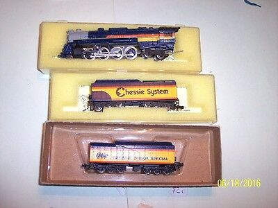 Con Cor N Scale Chessie Steam Special Set 1977 w/ 5 Pass Cars - RARE- See Below