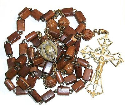 Vintage Rosary Brown Wood Beads Blessed Virgin Mary & Jesus With Sacred Heart