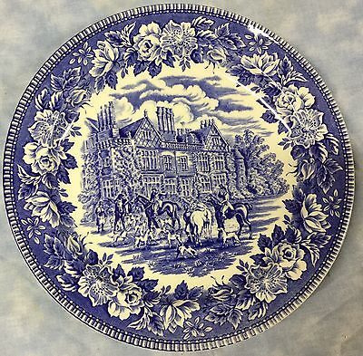 Fox Hunt Hunting Dinner Plate Woods & Sons Blue Transferware