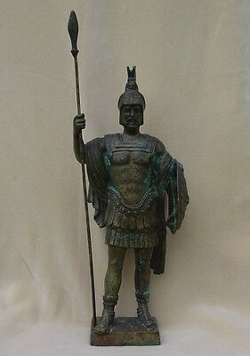 "Bronze Roman Mars Statue 19"" tall 23"" with spear Greek Ares Officer armor shield"