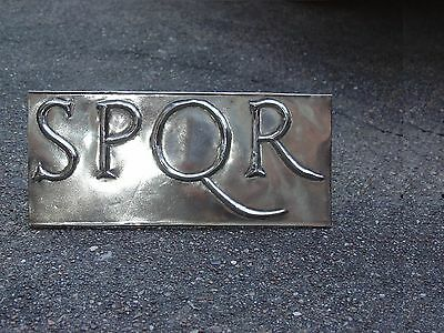Roman Army Standard SPQR decoration in a solid Silver White Brass Military Sign