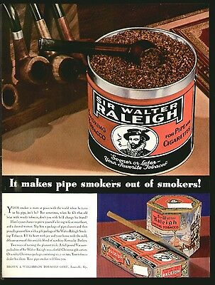 SIR WALTER RALEIGH Pipe Tobacco DEC 1935 Original Print Ad