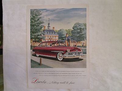 1950 Lincoln Cosmopolitan Four Door Original Print Ad from September 1950