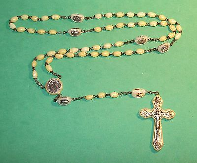 Ave Maria And St Paul & St Peter Vintage Rosary With Plastic Beads Italy Old