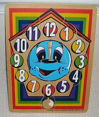 1996 Sky Kids Colorful Children's Wooden Wood CLOCK w/ NUMBERS PUZZLE