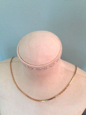 """14K Yellow Gold Box Chain Link Vintage Modern Necklace 16"""" Italy 5.2 Grams  1mm"""