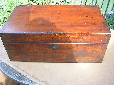Large Antique  Mahogany Writing Slope With Drawer