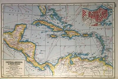 Vintage Antique Original 1920 Map Of Central America & West Indies Print