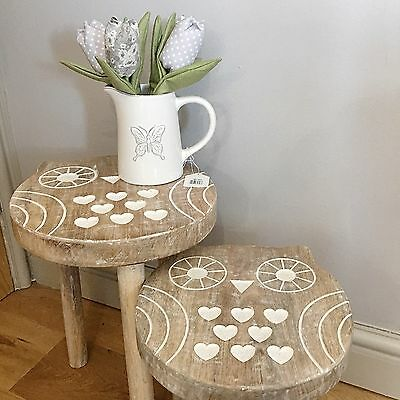Rustic Farmhouse Set 2 Solid Mango Wood Owl Side Tables Stools Shabby Home Chic