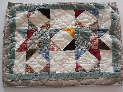 Pottery Barn Patchwork Pointed Star Quilted Standard Sham Greens  NWOT