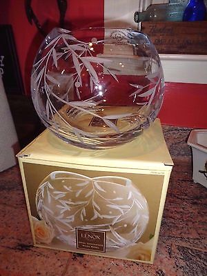NEW LENOX Opal Innocence Crystal Rose Lead Crystal Bowl - NEW IN BOX