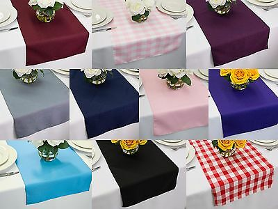 14 x 108 inch Polyester Table Runners, Multiple Colors & Multiple Sizes