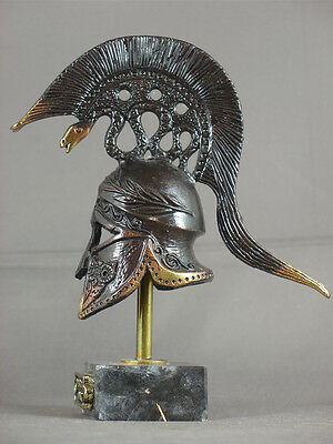 Reproduction miniature Classical Corinthian helmet in bronze with marble base