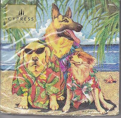 Cypress 20 Ct Paper Cocktail Napkins Aloha Dogs 3 Ply 10 by 10 Inches