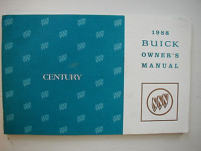 Genuine 1988 Buick Century Owners Manual Reference User Guide Operator Book