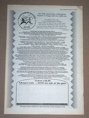 Glastonbury The Cure Deacon Blue - 1990 Original Advert Poster Nme 16 X 11.5 In